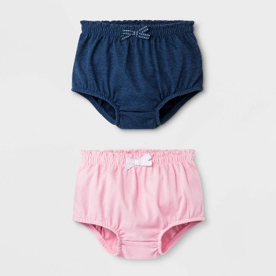 Baby Girls' 2pk Bloomer Pull-On Shorts - Cat & Jack™ Blue/Pink 0-3M