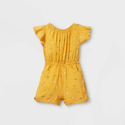 Toddler Girls' Tie-Back Floral Short Sleeve Romper - Cat & Jack™ Yellow