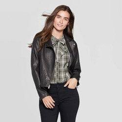 Women's Faux Leather Moto Jacket - Universal Thread™ Black
