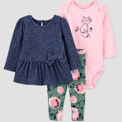 Baby Girls' 3pc Fox Floral Top & Bottom Set - Just One You® made by carter's Green Newborn