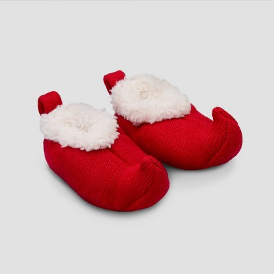 Baby Girls' Christmas Elf Bootie Slippers - Just One You® made by carter's Red Newborn
