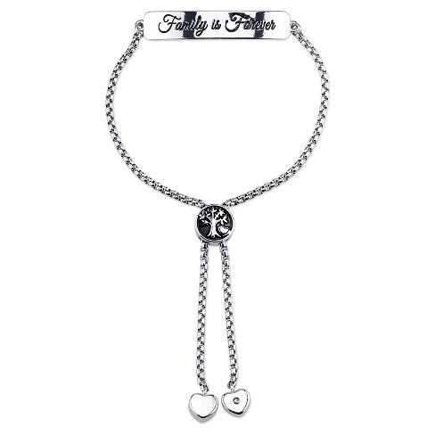 """Women's Stainless steel Family is forever slide bracelet - silver (8"""") - image 1 of 1"""