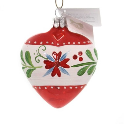 """Golden Bell Collection 3.25"""" Red/White Heart Hand Painted  -  Tree Ornaments"""