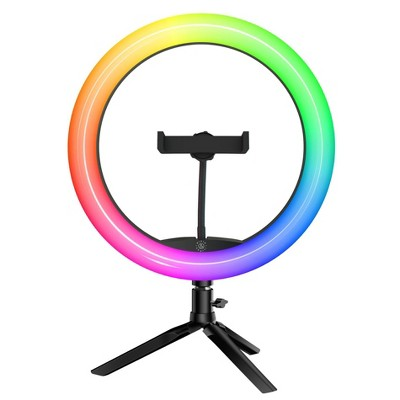 "Dixie & Charli 10"" Color LED Ring Light with Table Stand, Phone Holder and Wireless Shutter Remote - DC-RLCT-10C"