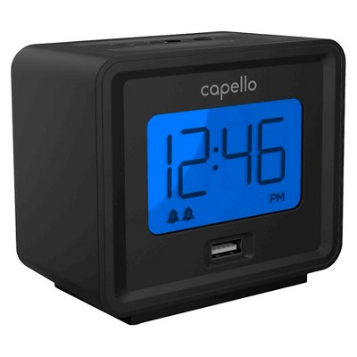 Compact Digital Alarm Clock with USB Charger Black - Capello®