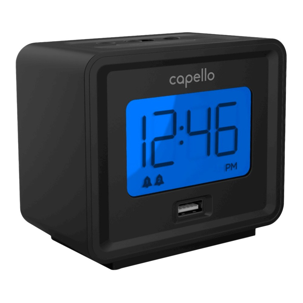 Image of Compact Digital Alarm Clock with Usb Charger Black - Capello