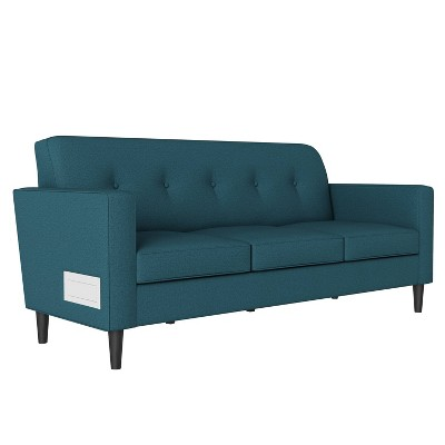 Philbin Square Arm Sofa with USB & Power Ports Linen - Handy Living
