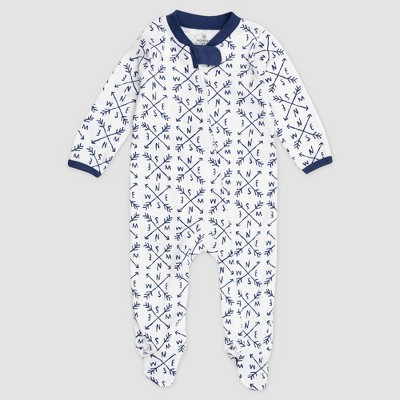 Honest Baby Boys' Compass Organic Cotton Pajama Jumpsuit - Navy 0-3M