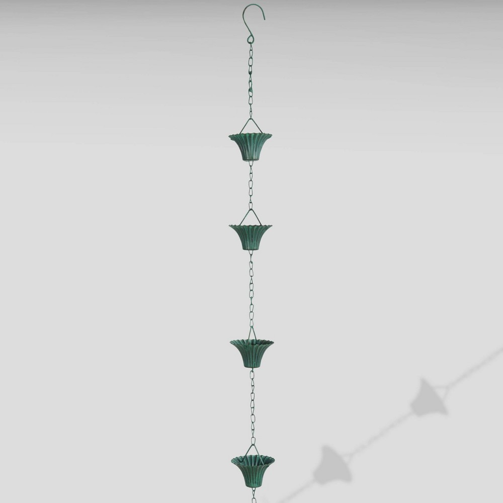 "Image of ""100"""" Iron Verdigris Rain Chain Green - Esschert Design"""