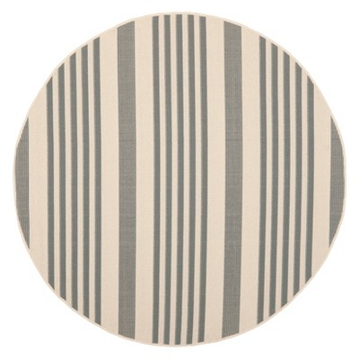Santorini Stripe Round 5'3  Outdoor Rug - Gray / Bone - Safavieh®