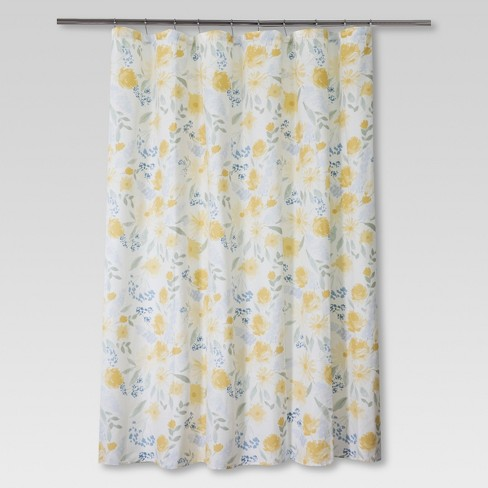Floral Shower Curtain Yellow/Blue - Threshold™ - image 1 of 1