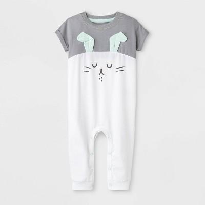 Baby Boys' Bunny Capsule Dolman Sleeve Romper - Cat & Jack™ Gray/White 3-6M