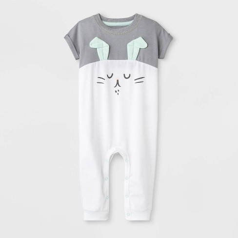 Baby Boys' Bunny Capsule Dolman Sleeve Romper - Cat & Jack™ Gray/White - image 1 of 1