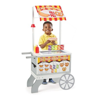 Melissa & Doug Wooden Snacks and Sweets Food Cart - 40+ Play Food pc, Reversible Awning