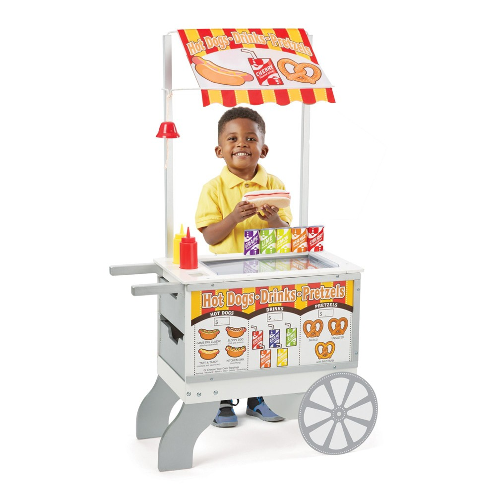 Melissa 38 Doug Wooden Snacks And Sweets Food Cart 40 Play Food Pc Reversible Awning