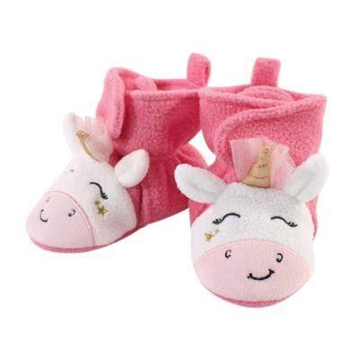 Hudson Baby Infant and Toddler Girl Cozy Fleece Booties, Pink Star Unicorn