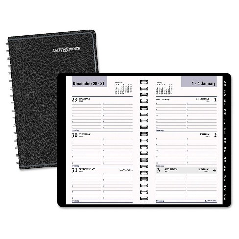 DayMinder® Refillable Weekly Pocket Appt Book, Phone/Address Tabs, 3 3/4 x 6, Black, 2017 - image 1 of 1