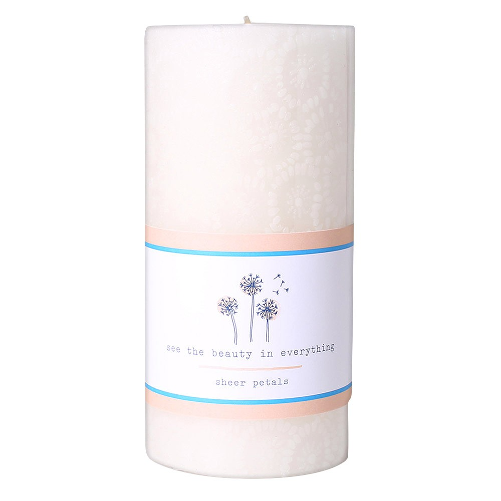 Image of 20.5oz Etched Pillar Candle Sheer Petals - Happy Place