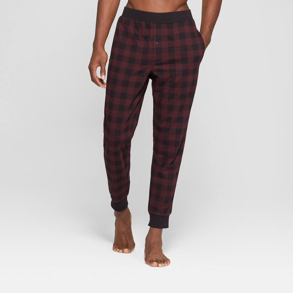 Men's French Terry Jogger Pajama Pants - Goodfellow & Co Black/Red M