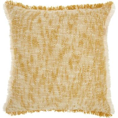 Life Styles Woven Fringe Throw Pillow Mustard - Nourison