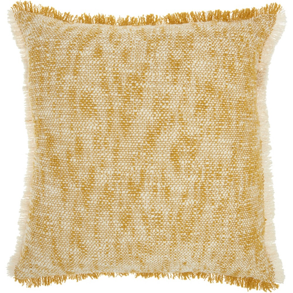 Image of Life Styles Woven Fringe Throw Pillow Mustard - Nourison, Yellow