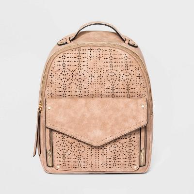 VR NYC Zip Closure Mosaic Design Laser Cut Shoulder Handbag - Natural
