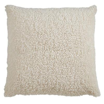 """18""""x18"""" Faux Fur Throw Pillow Cover Ivory - Saro Lifestyle"""