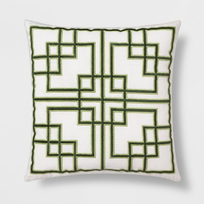Embroidered Fretwork Square Throw Pillow Green - Threshold™