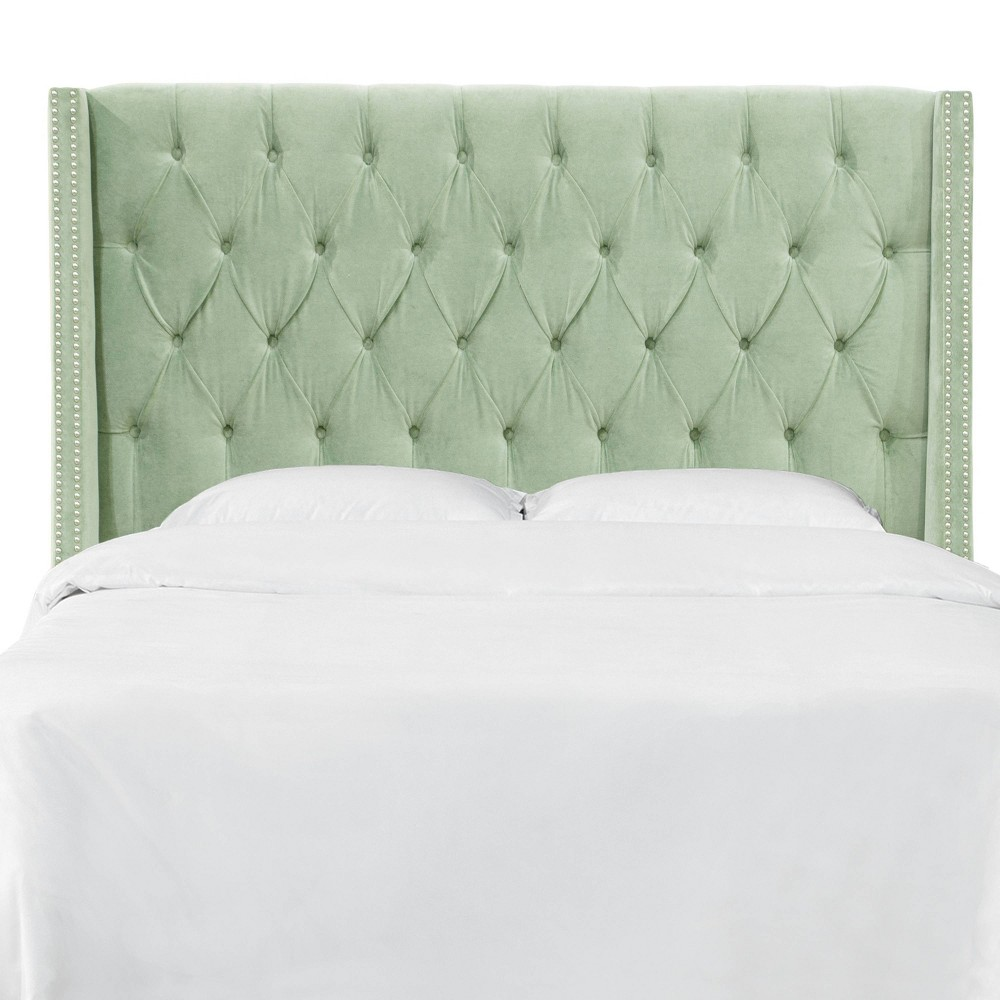 Queen Nail Button Tufted Wingback Headboard in Lulu Sage Green - Skyline Furniture