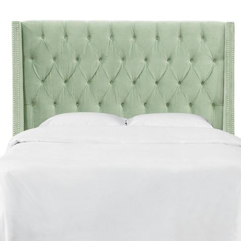 twin nail button tufted wingback headboard in lulu sage green skyline furniture