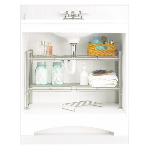 Expandable Under Sink Storage Rack Champagne - 88 Main : Target on storage for under bed, storage for under window, storage for under desk,
