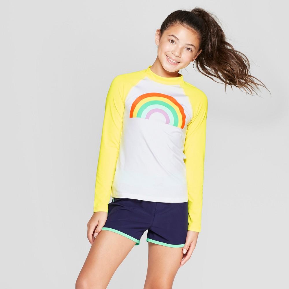 Girls' Rainbow Long Sleeve Rash Guard - Cat & Jack Yellow M Plus
