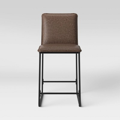 Upholstered Counter Height Barstool with Metal Frame Espresso Faux Leather - Room Essentials™