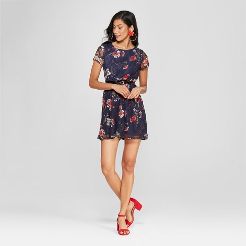 7017d5dbfca1 Women s Floral Print Lace Dress - Lots of Love by Speechless (Juniors ) Navy