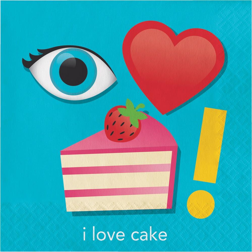Image of 16ct Creative Converting Show Your Emojions I Love Cake Napkins
