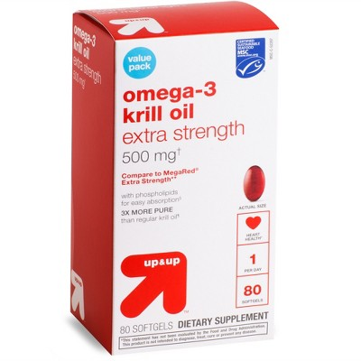 Omega-3 Krill Oil Extra Strength 500mg Softgels - 80ct - up & up™