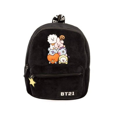 "Line Friends BT21 Plush Mini 9.5"" Backpack - Tata, Van, Chimmy, Cooky, Shooky and RJ"