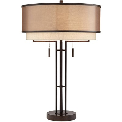 Franklin Iron Works Andes Double Shade Industrial Table Lamp with Table Top Dimmer