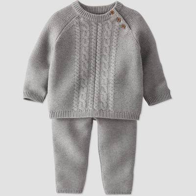 Baby Boys' 2pc Organic Cotton Sweater Top and Bottom Set - little planet by carter's Gray