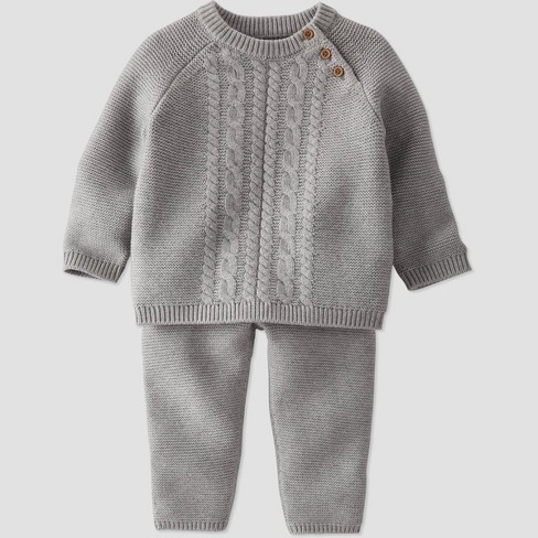 Baby Boys' 2pc Organic Cotton Sweater Top and Bottom Set - little planet by carter's Gray - image 1 of 3