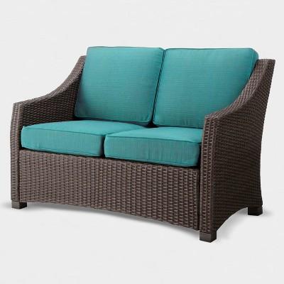 Belvedere Wicker Patio Loveseat - Turquoise - Threshold™