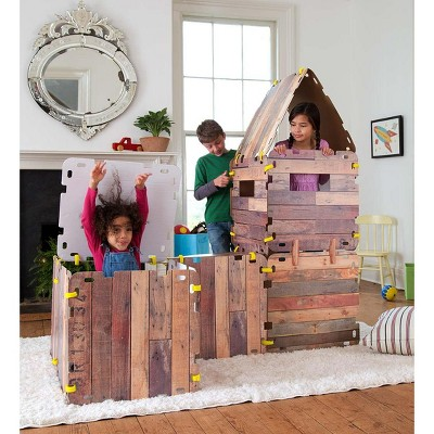 HearthSong 16-Panel Cabin Fantasy Forts Indoor Building Kit with Hook and Loop Connectors