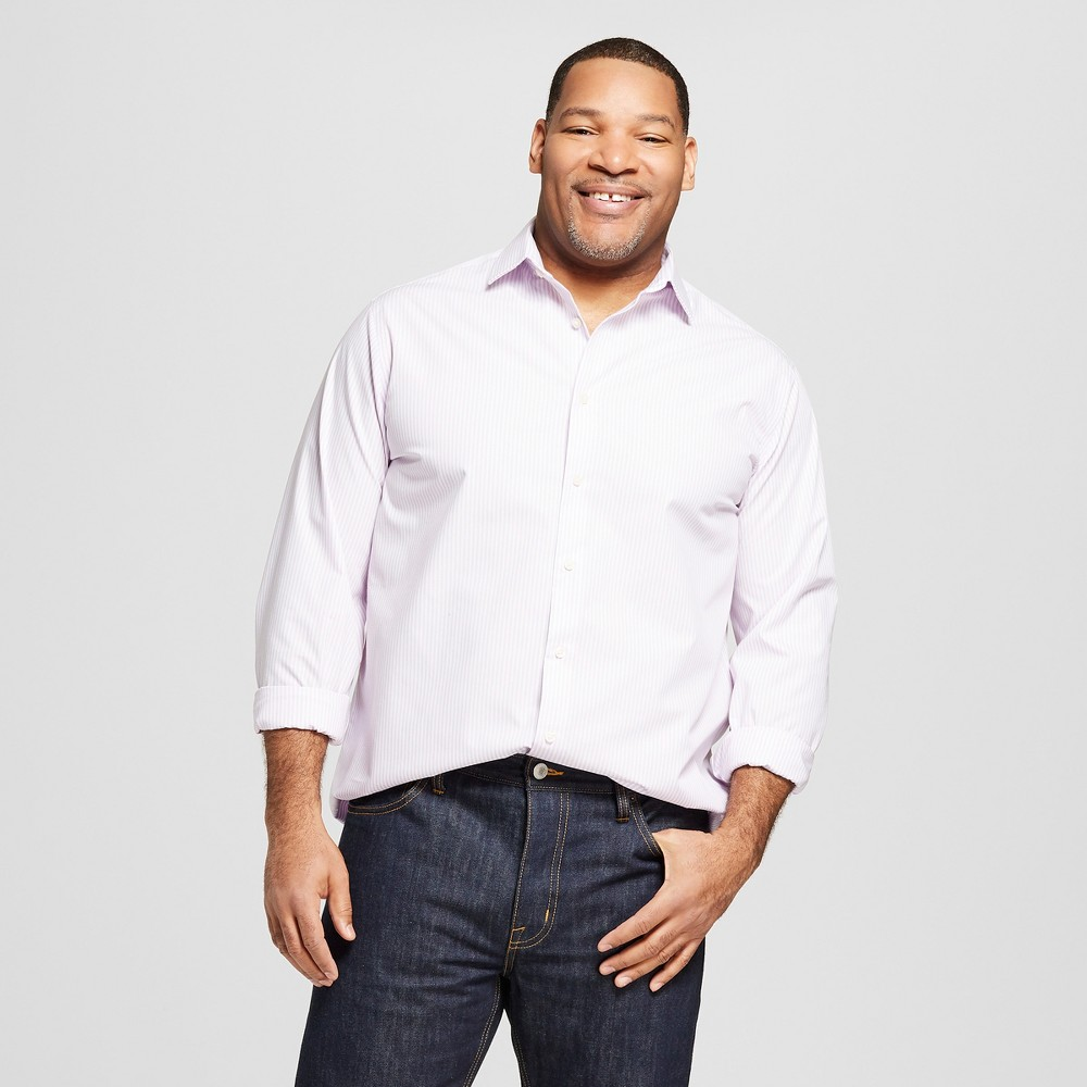 Men's Big & Tall Striped Standard Fit Long Sleeve Button-Down Dress Shirt - Goodfellow & Co Lavender (Purple) 2XBT