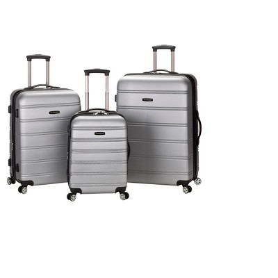 Rockland Melbourne 3pc Expandable ABS Spinner Luggage Set - Silver