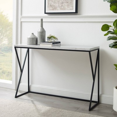 Geo Glam Modern Faux Marble Entry Table - Saracina Home