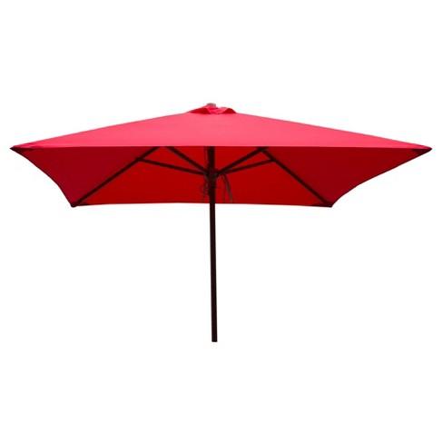 Classic Wood 6.5' Square Patio Umbrella- Red - Parasol ...