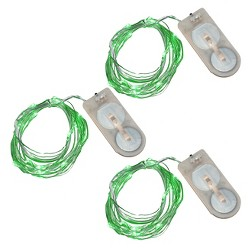 6.3' 3ct LED Submersible Mini String Lights Green