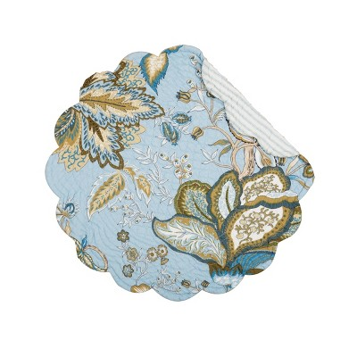 C&F Home Bethany Blue Cotton Quilted Round Reversible Set of 6