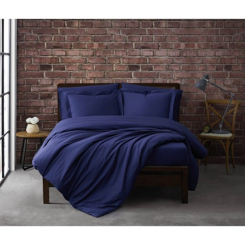 King 3pc Solid Cotton Percale Duvet Cover Set Navy - Sean John - image 1 of 4