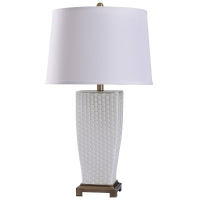 Duerstock Dimpled Glass Table Lamp with Tapered Drum Shade Brass - StyleCraft
